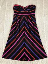 Guess Jeans Silk Strapless Dress Striped Purple Pink Empire Waist Size 3 NWT