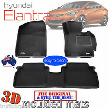 To suit Hyundai Elantra Sedan 2012 to 2018 - Black Rubber 3D Car Floor Mats