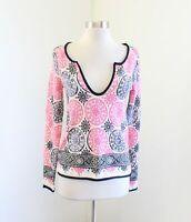 Calypso St Barth Medallion Print V-Neck 100% Cashmere Sweater Size XS Pink Blue