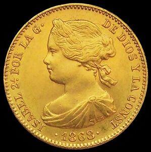 SPAIN 1868 *73* ☆ BARCELONA 10 GOLD ESCUDOS ☆ UNC GEM   ☆  MAGNIFICENT ☆