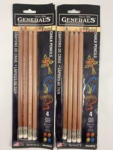 Generals Multi Pastel Chalk Pencils Set Of 2 Packs of 4 Bright Colors #444BPB