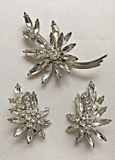 Elegant Sherman Rhinestone Pin w/ Clip Earrings Gustav Sherman
