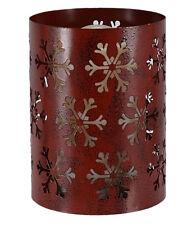 Snowflake Pillar Rosy Red 6 x 4 Iron Metal Christmas Flameless Candle Luminary
