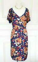 Blue Camel Red Hobbs London Floral 100 %  Silk Designer Autumn Casual Dress 14