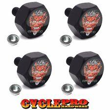 4 Black Hex Billet Alum Motorcycle License Plate Frame Tag Bolts 1%ER RED DEVIL