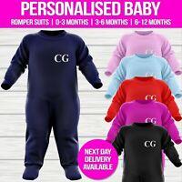 Custom Initials Personalised Baby Romper Suit Baby grow Boys Girls Long Sleeved