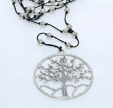 Large Silver Tree Of Life Pendant Necklace  Silver Alloy Beaded Indonesia