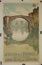 Affiche Ancienne  LE VIGAN des CEVENNES par le peintre avignonais MONTAGNE