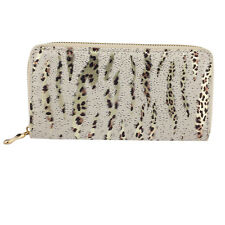 Leopard Striped Glitter Zipper Wallet Lux Accessories Ivory and Gold Tone