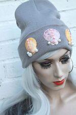 Mermaid Sea Shell Grey Pastelgoth Beanie Hat Street Wear Festival Gobbolino