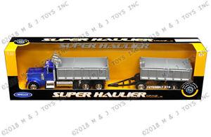 WELLY 39944 SUPER HAULER PETERBILT 379 DOUBLE DUMP TRUCK 1/32 BLUE