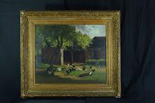 Grand tableau 1850 Paysage Basse cour Rouen Poule coq elv. Thomas Couture rare