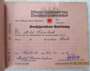 WHW 1936/37 - BLOCK  48x SACHSPENDEN-QUITTUNG - GAU KOBLENZ, TRIER, BIRKENFELD