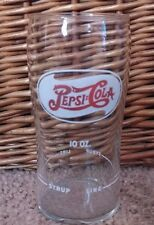 Vintage Pepsi Cola Fountain Drink Glass with Syrup Line Red On White 10oz