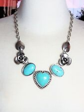Turquoise Silver Tone Necklace Heart Flower Design
