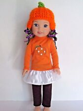 """4pc WHITE with Rhinestones DOLL ICE SKATING SET fits 14.5/"""" WELLIE WISHERS DOLL"""