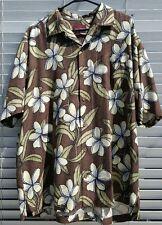 Tommy Bahama Hawaiian Floral Silk Shirt Size-XL Brown-White-Blue-plumeria flower
