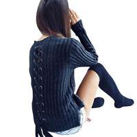 Womens Knit Slim Fit Pullover Jumper Sweater Long Sleeve Knitwear Tops Outwear