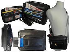 Mens Mans Soft Leather Travel Organiser Utility Man Bag Shoulder Bags Black R521