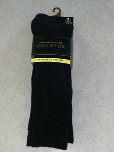 Gold Toe Men's Signature Collection 3 Pair Black Extended Shoe Size 12-16 NWT