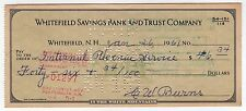 1961 IRS Check PAYMENT Internal Revenue Service WHITEFIELD NEW HAMPSHIRE Bank