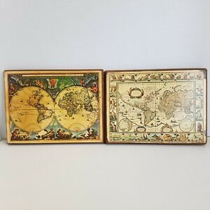 VTG Old World Map Wall Art Plaque Greek Gods Seven Wonders of the Ancient World