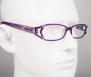 1010 New Fashion Women Rhinestone Purple Reading Glasses CE Readers +1 +2 +3 +4