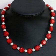 """New Natural Coral Irregular + Natural Pearl Necklace 18"""""""