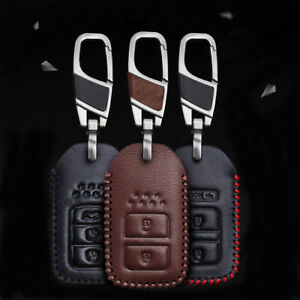 For Honda Civic Leather Key Case Fit Accord Key Holder Fob Cover Keychains