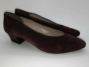 Vintage 80s Laura Ashley Leather Suede Slip On Kitten Heel Pointed Court Shoes 6