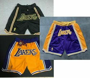 Los Angeles Lakers Black Yellow Blue Shorts All Stitched League Basketball Short