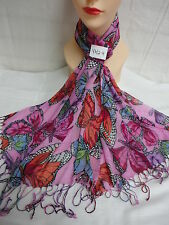 BUTTERFLY PATTERN ALL SEASON LIGHT WEIGHT SCARF WRAP COLOR PINK