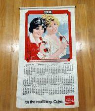 Vintage1974 COCA COLA Original Cloth Wall Calendar w/dowel 1912 reproduction