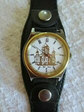 Soviet Russian Quartz Wristwatch with Leather Band - Cathedral on Dial's Face