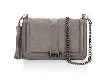 NWT Rebecca Minkoff LOVE Chevron Quilted Crossbody BAG Graphite Gray Gunmtl $295