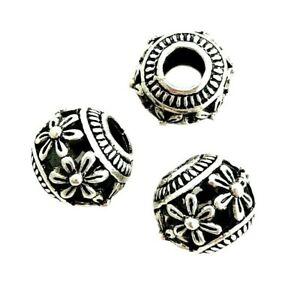 5 Large 14x13mm Round Tibetan Silver Hollow Flower Design 5.5mm Hole Focal Beads