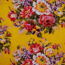 """40"""" Wide Floral Printed Yellow Embroidered Cotton Sewing Dress Fabric By The"""