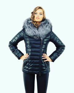 Damen Winterjacke Eco Leder Jacke mit Pelz Fell Echtfell Silberfuchs Pelzkragen