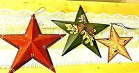 "3 BARN STARS Tin Red 12"" Green 12"" Tan 8"" Leaves Crows Acorns NEW FREE SHIP"