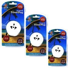 Seguro De Viajes Adaptador UK visitante Triple Pack, la Unión Europea EE. UU. a 3 Pin Plug Convertidor de energía