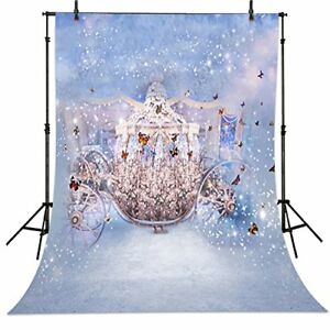 5x7ft Fairy Tales Cinderella Carriage Butterfly party backdrop background