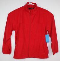 Reebok Women's Classic Sweater Fleece Jacket Full Zip Sz L Red Long Sleeve NWT
