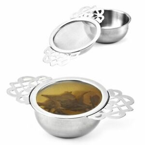 Stainless Steel Double Ear Spice Infuser Filter With Drip Bowl Tea Strainer Tea-