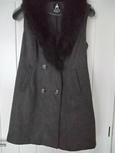ATMOSPHERE  DARK GREY LONG SLEEVESS DRESS JACKET WITH REMOVABLE  FUR COLL