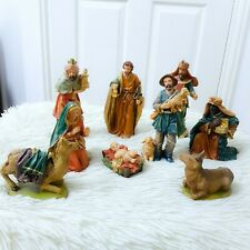 VTG Large Traditional Deluxe Christmas Nativity Set Scene With 9 Figures