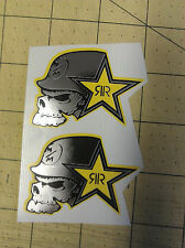 2 x rockstar energy metal mulisha 50 x 50mm chrome imprimé autocollants pegatinas