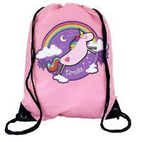 Personalised Kids Unicorn Drawstring Pink PE Bag Kids Swimming Gym Kit School