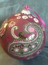 Vera Bradley Glass Ornament 2010 Very Berry Paisley - Rare - Brand New In Box