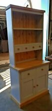 RUSTIC TOPPED CHUNKY PLANK KITCHEN DRESSER, DISPLAY UNIT, SIDEBOARD, PAINTED