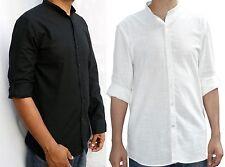 Mens grandad collar shirt available in black & Natural white